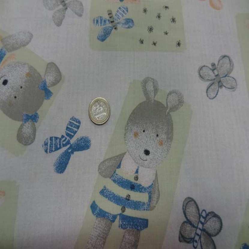 Coton imprime enfants ourson et papillons6