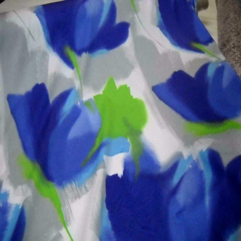 Coton imprime fleurs gris bleu vert8