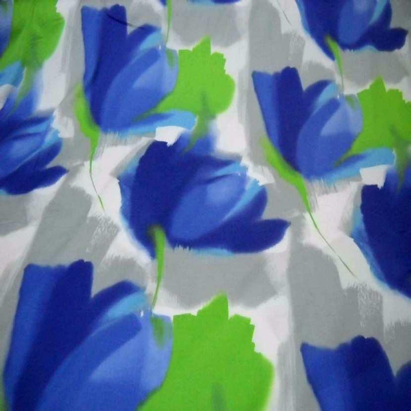 Coton imprime fleurs gris bleu vert9
