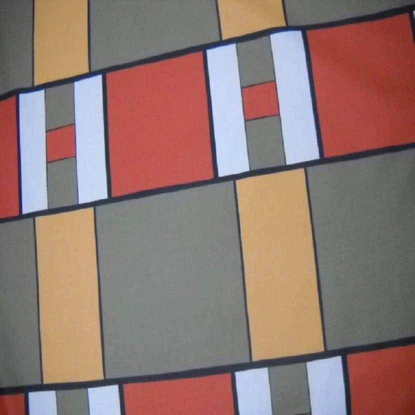 Coton imprime ton kaki orange safran en 1 60m de large2