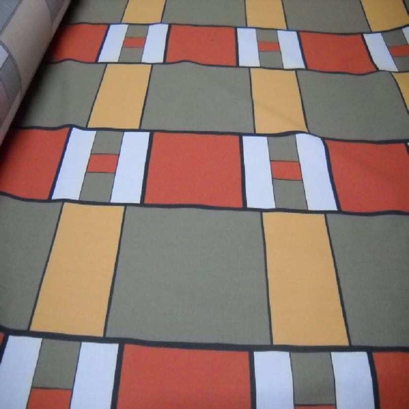 Coton imprime ton kaki orange safran en 1 60m de large9