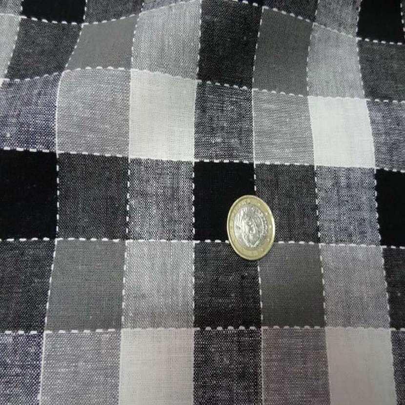 Coton lin a carreaux noir blanc gris