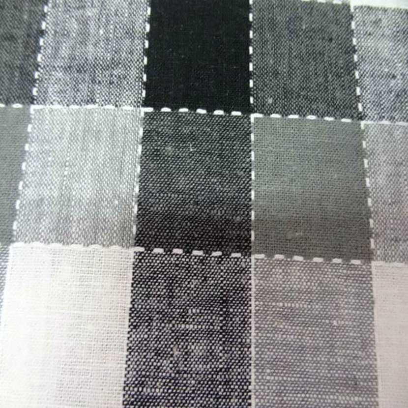 Coton lin a carreaux noir blanc gris4