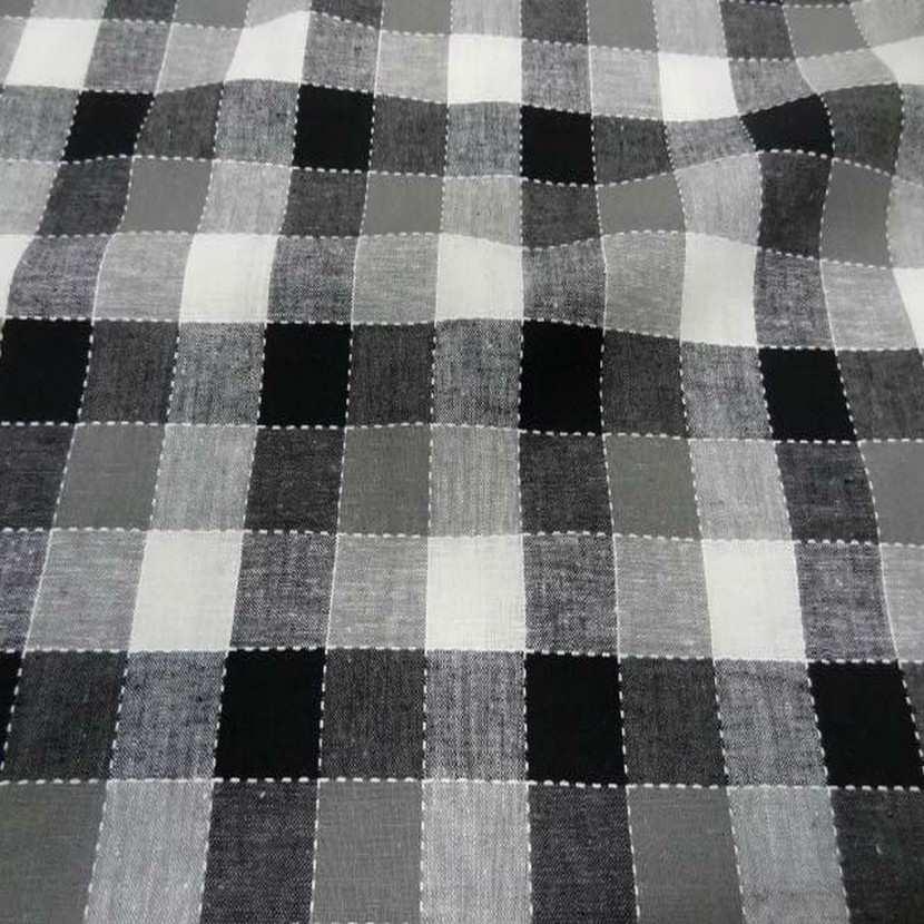 Coton lin a carreaux noir blanc gris5