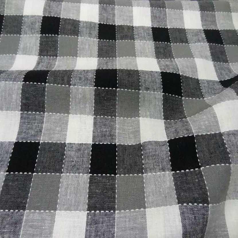 Coton lin a carreaux noir blanc gris9