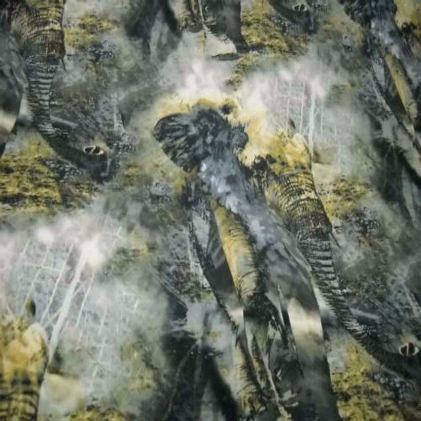 Coton lycra imprime elephant ton gris safran