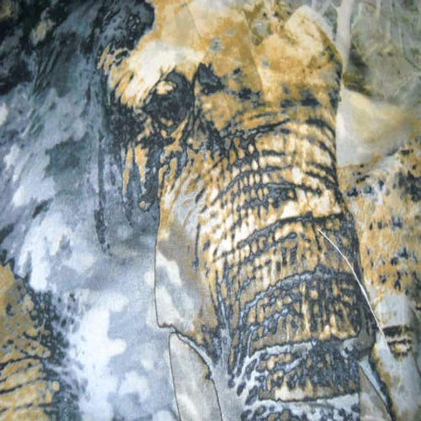 Coton lycra imprime elephant ton gris safran6