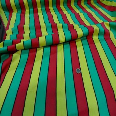 Coton melange a bandes vert jaune rouge