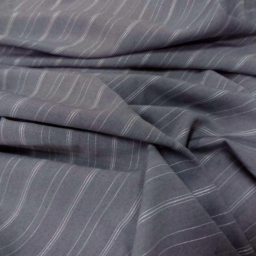 Coton melange gris a rayures en lurex blanc metal1