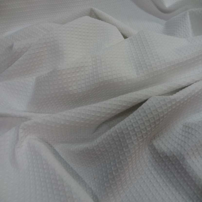 Coton nid d abeille blanc3