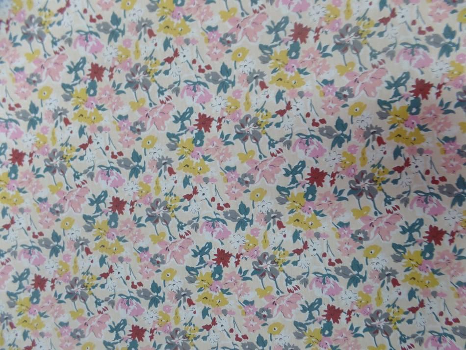 tissu coton popeline beige clair imprime liberty petite fleurs