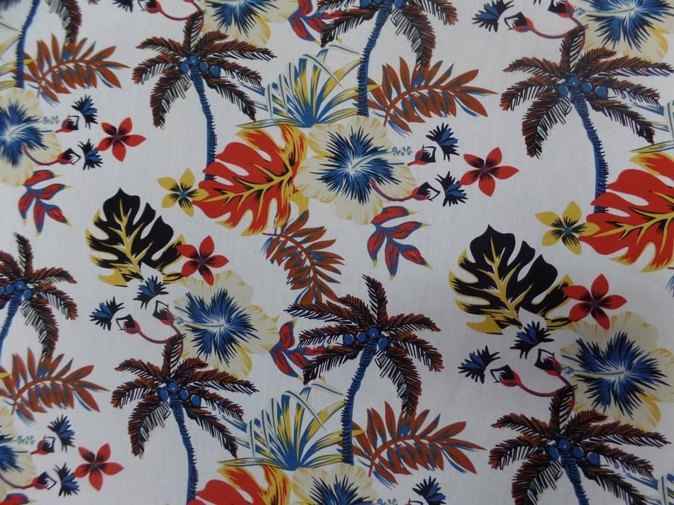 Coton popeline blanche imprime hawaien ton beige noir rouge bleu marron