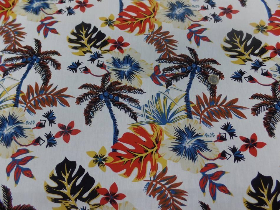 tissu coton popeline blanche imprime hawaïen ton beige noir rouge bleu marron