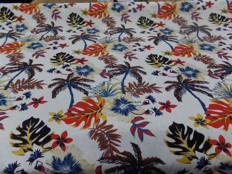 Coton popeline blanche imprime hawaïen ton beige noir rouge bleu marron