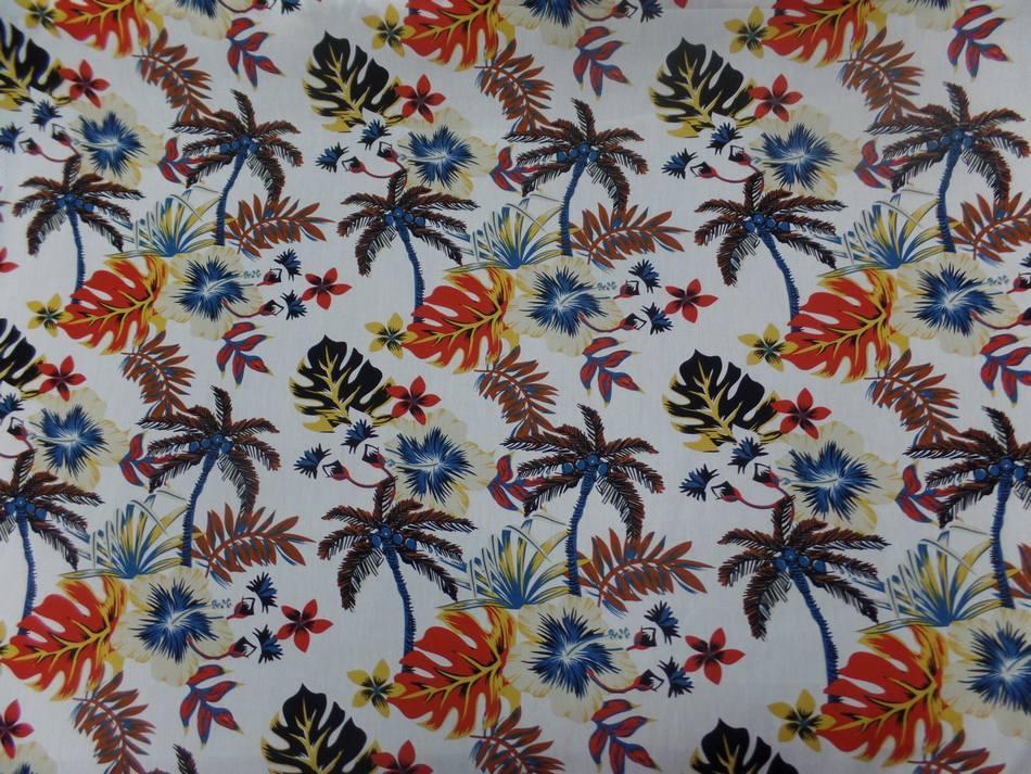 Coton popeline blanche imprime Hawaiian ton beige noir rouge bleu marron