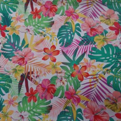 Coton popeline blanche imprime hawaien ton rouge jaune vert rose