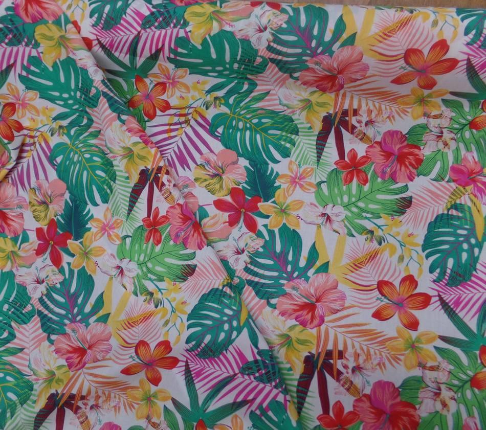 tissu Coton popeline blanche imprimé hawaïen ton rouge ,jaune ,vert ,rose