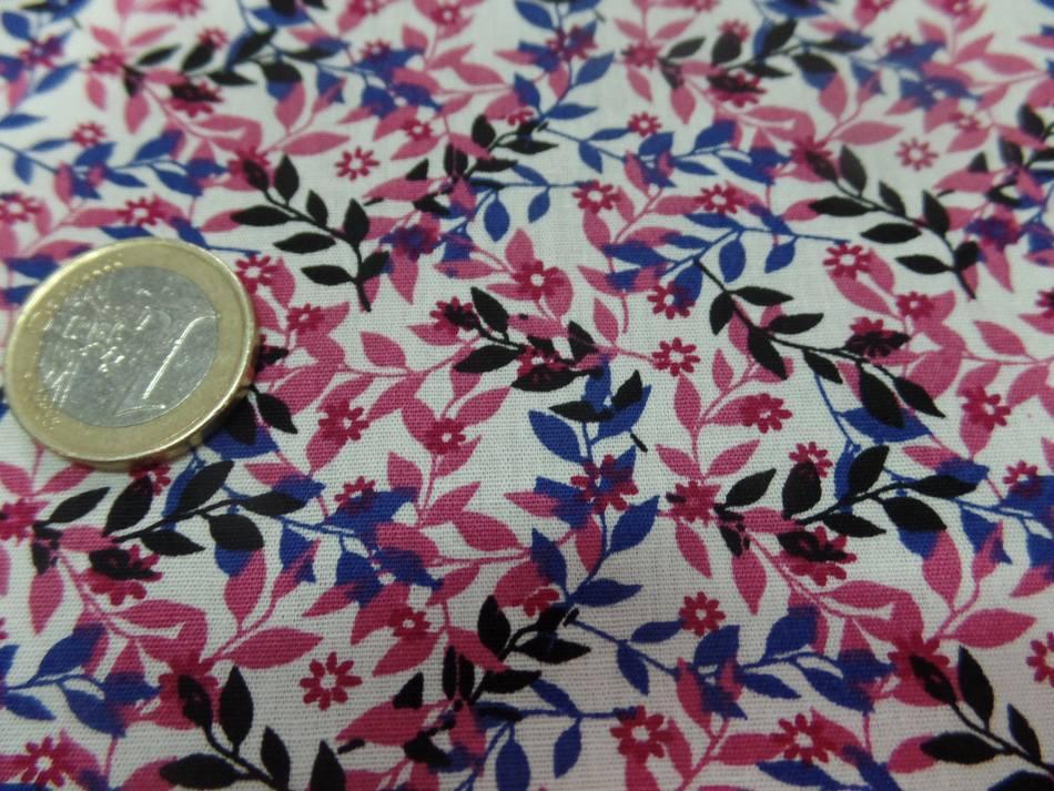 Coton popeline blanche imprime liberty fleurs rose noir et bleu5