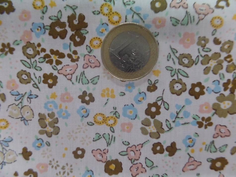 tissu coton 100% popeline blanche imprime liberty fleurs ton de terre