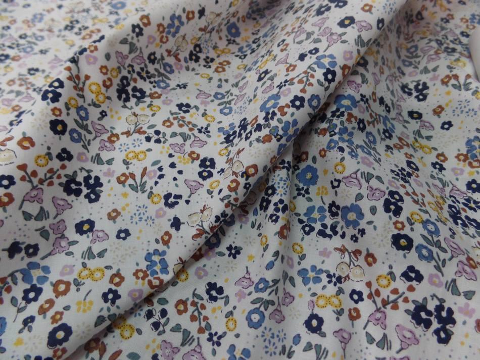 Coton popeline blanche imprime liberty fleurs