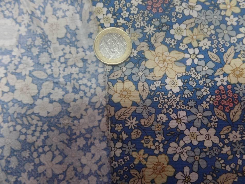 Coton popeline bleu imprimé liberty fleurs ton jaune,blanc et gris