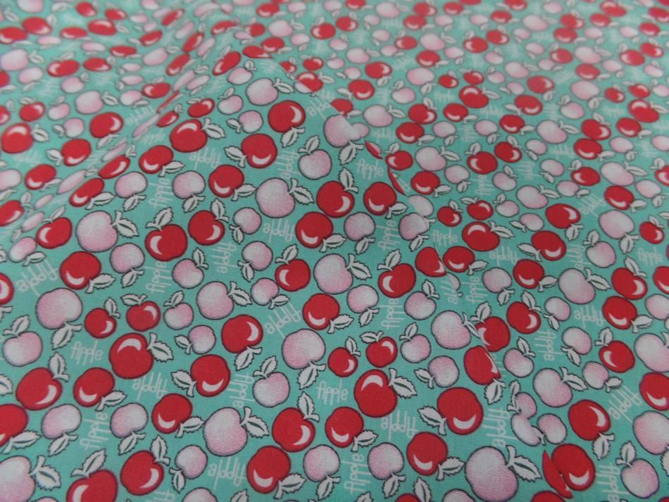 Coton popeline bleu imprimé liberty motifs cerises rouge