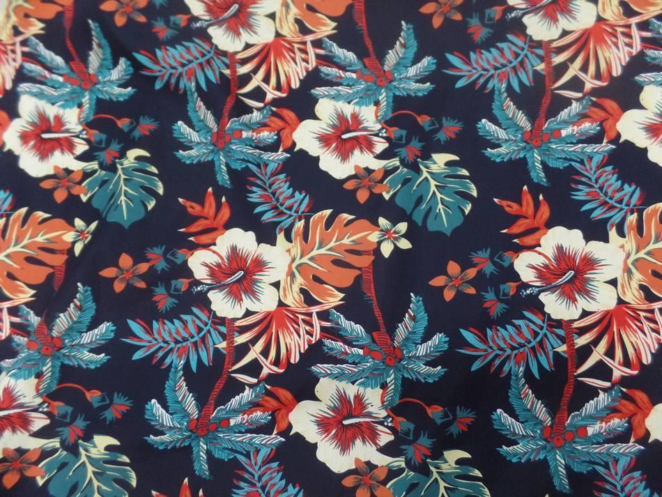 vente de Coton popeline bleu nuit imprimé hawaïen ton rouge bleu blanc