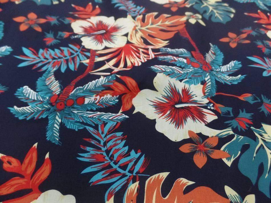 vente de tissu Coton popeline bleu nuit imprimé hawaïen