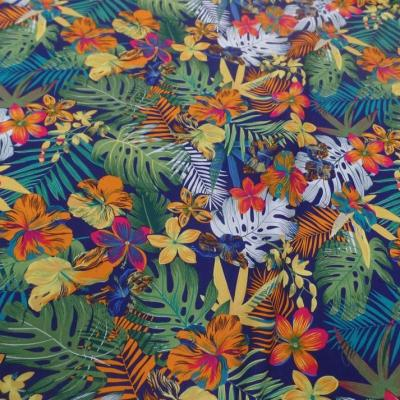 Coton popeline bleu nuit imprime hawaien ton rouge vert orange bleu