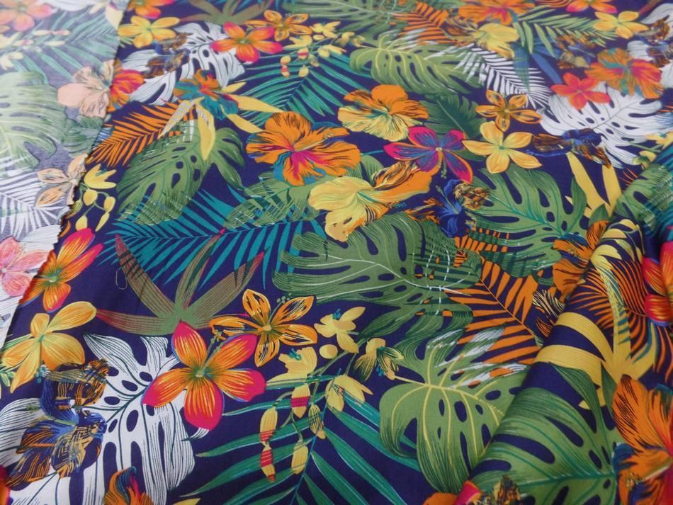 étoffe Coton popeline bleu nuit imprimé hawaïen ton rouge ,vert ,orange ,bleu
