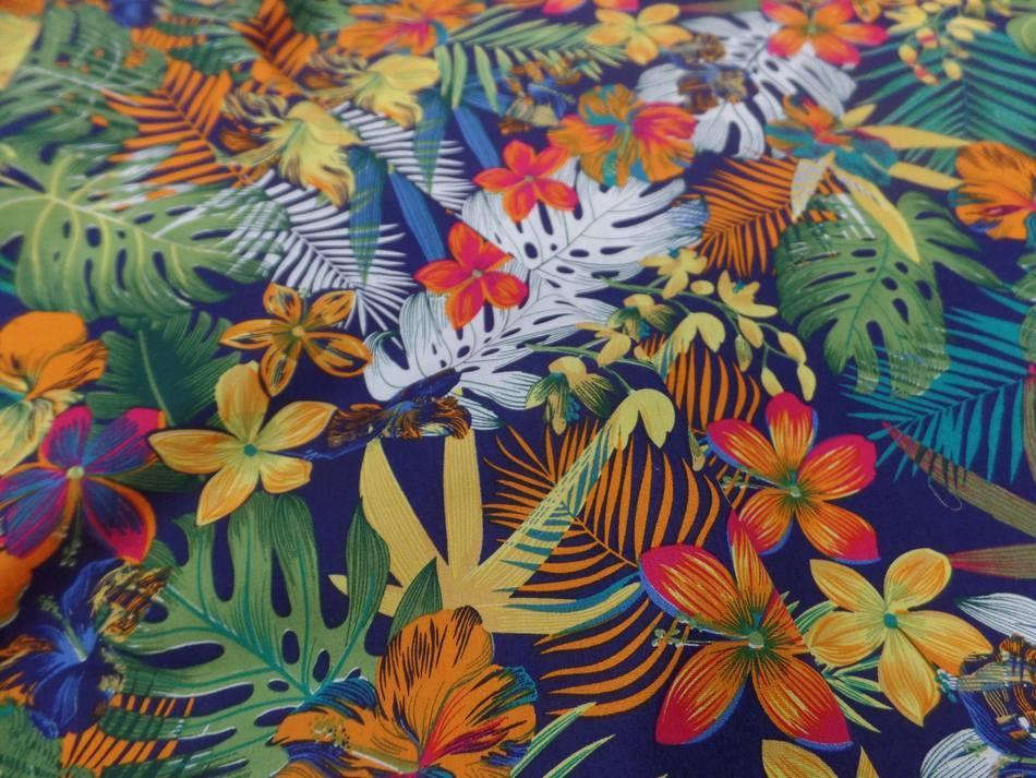 Coton popeline bleu nuit imprimé hawaïen ton rouge ,vert ,orange ,bleu