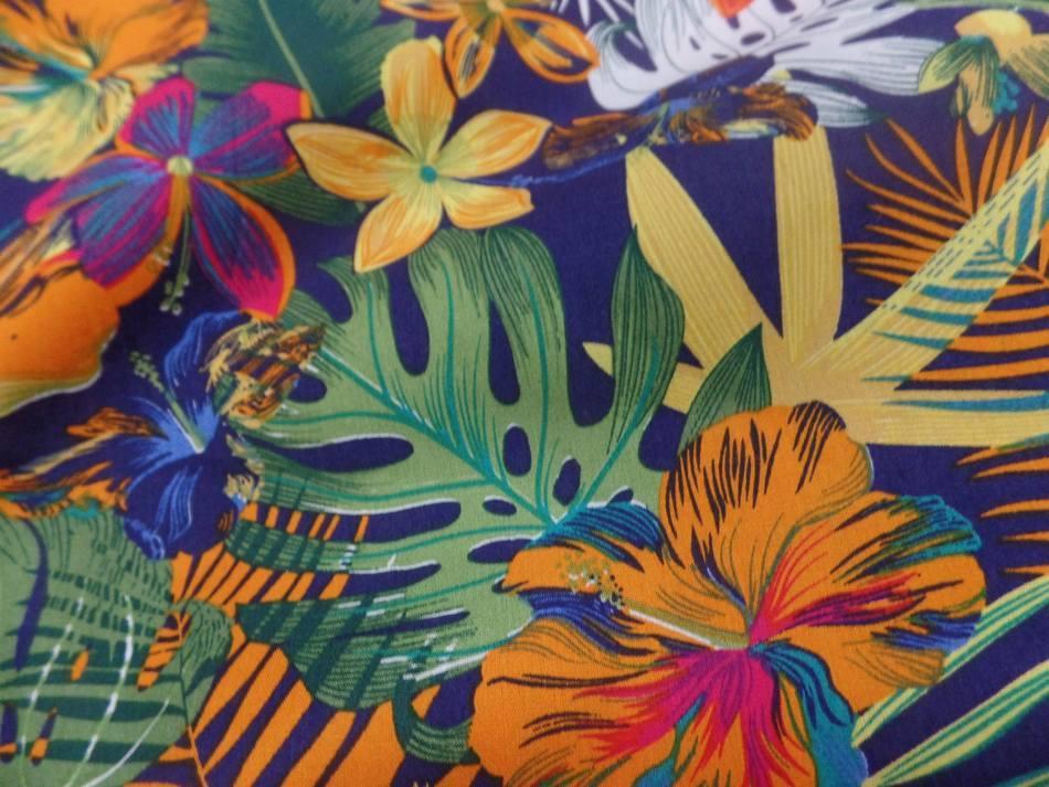 tissu Coton popeline bleu nuit imprimé hawaïen ton rouge ,vert ,orange ,bleu