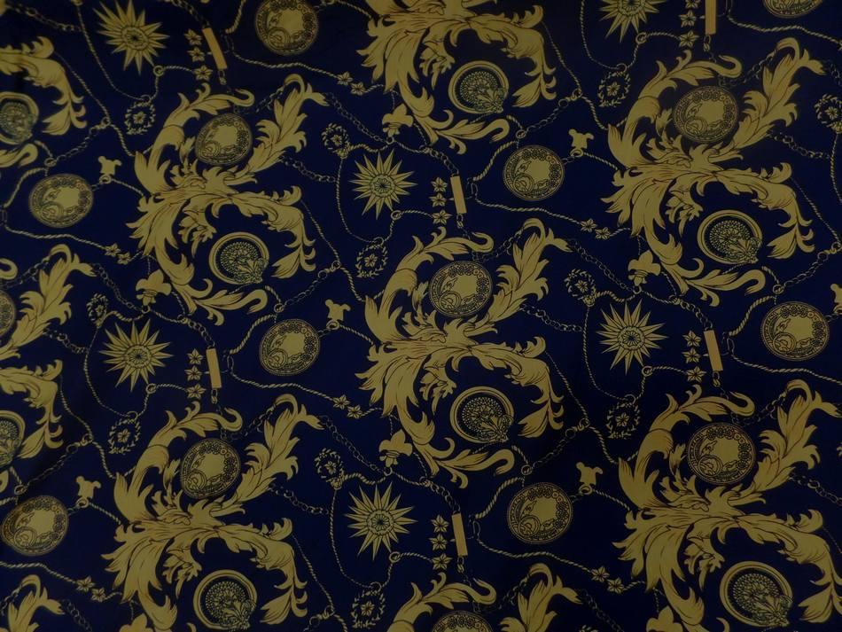 Coton popeline bleu nuit imprime liberty motifs jaune dore