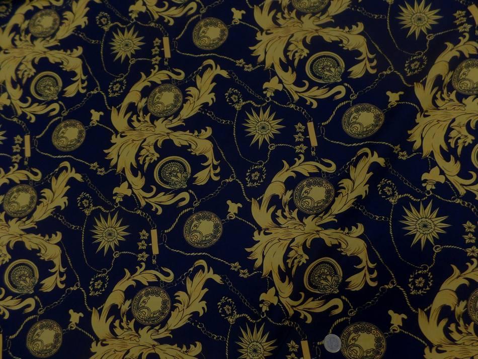 tissu coton popeline bleu nuit imprimé liberty motifs jaune doré