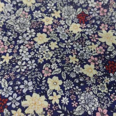 Coton popeline bleu nuit imprime liberty motifs petite fleurs