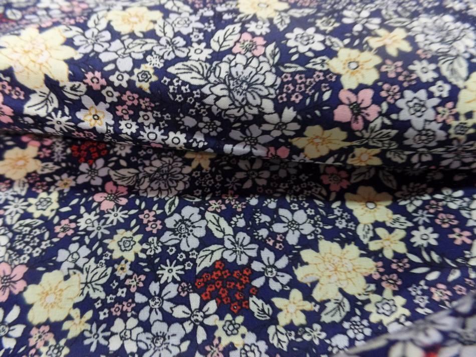 Coton popeline bleu nuit imprime liberty motifs petite fleurs6