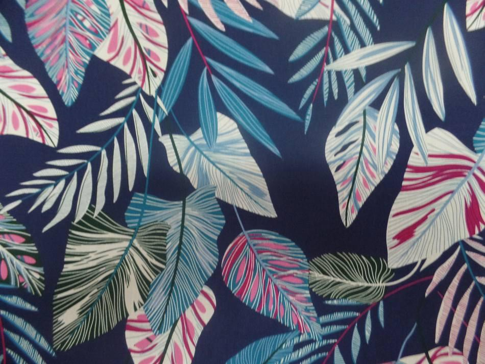 Coton popeline bleu nuit imprimé motifs feuilles