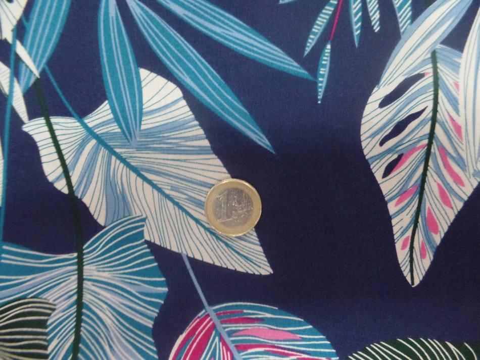 tissu coton 100% popeline bleu nuit imprimé motifs feuilles