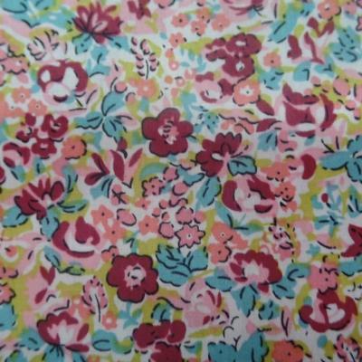 Coton popeline imprime liberty fleurs ton bordeaux bleu et rose