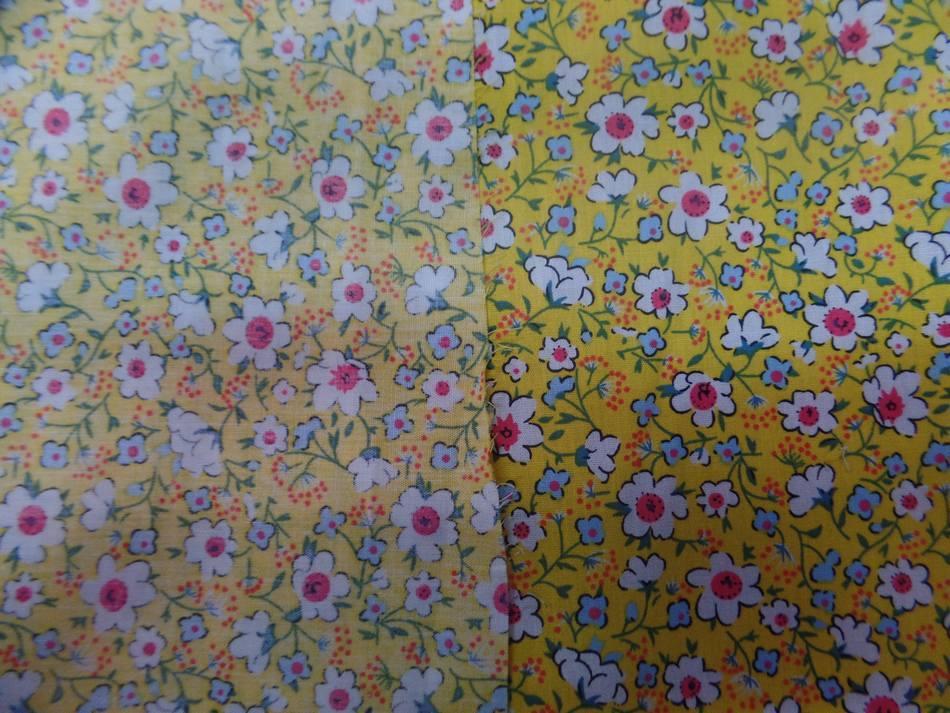 tissu coton popeline jaune imprimé liberty fleurs ton blanc et rose