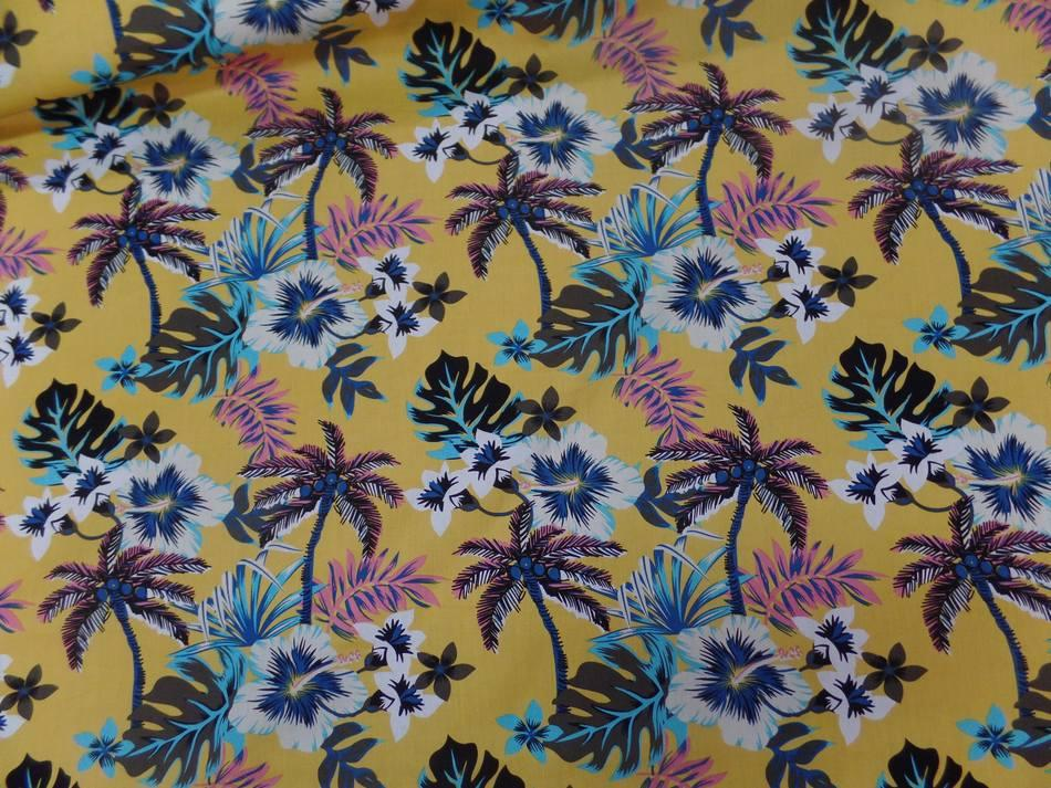 Coton popeline jaune safran imprime hawaien ton blanc bleu noir marron