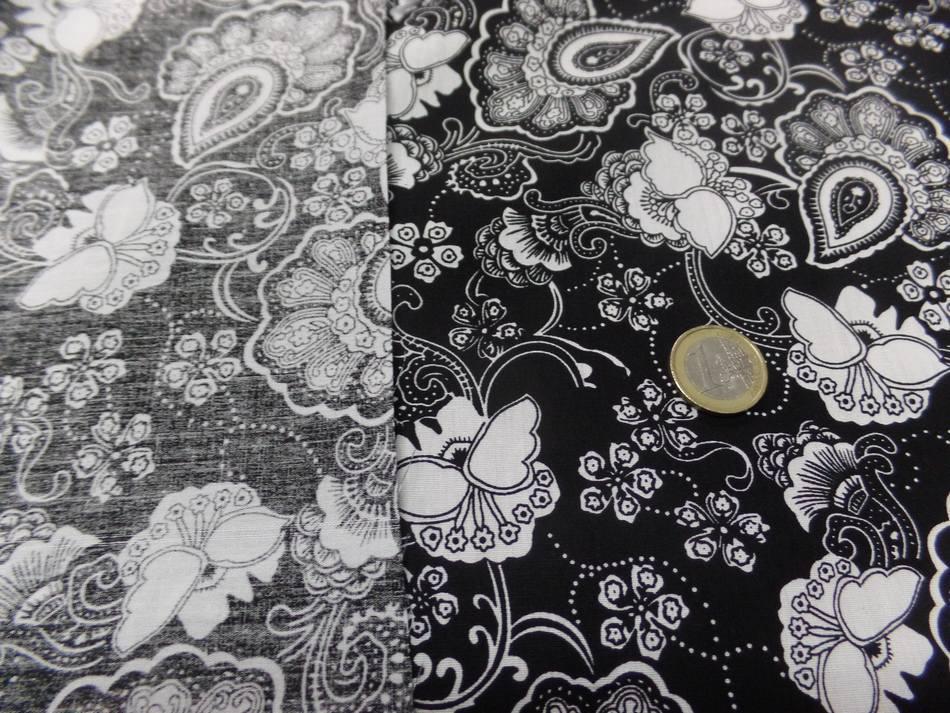 coton popeline noire imprimé fleurs ton blanc pas cher