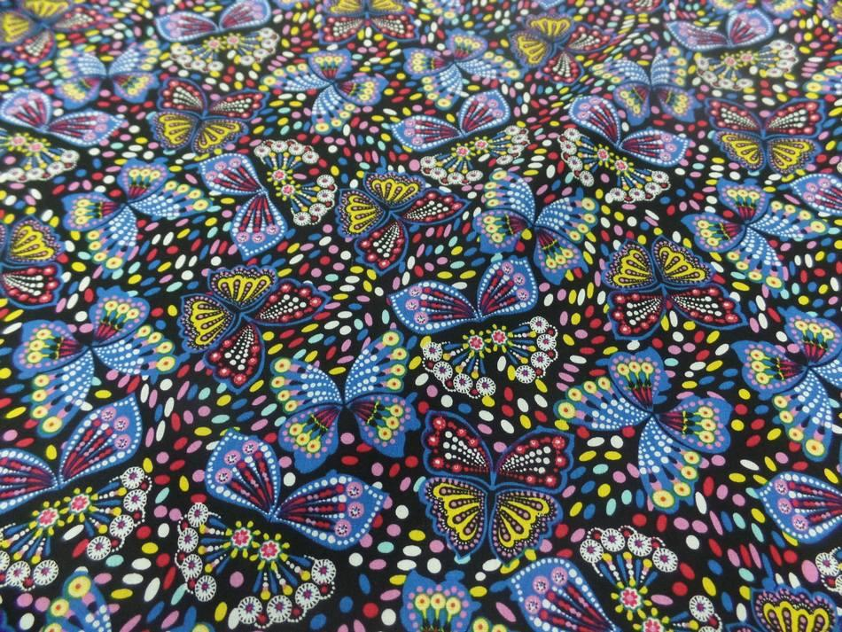 Coton popeline noire imprime liberty papillon jaune bleu rouge