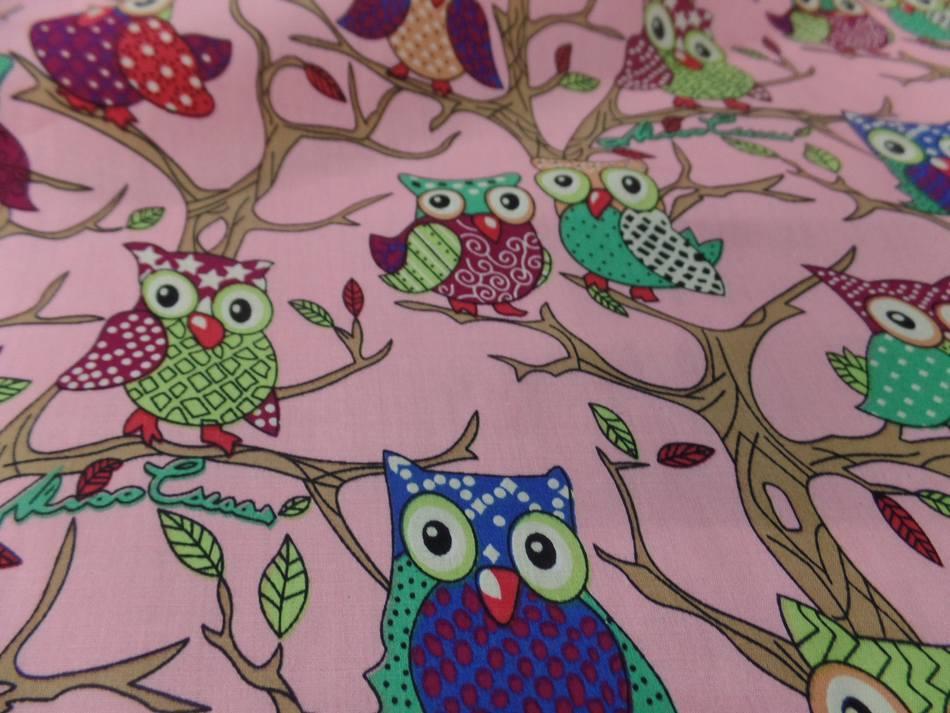 achat coton popeline rose imprimé hiboux anis ,vert ,bordeaux ,bleu