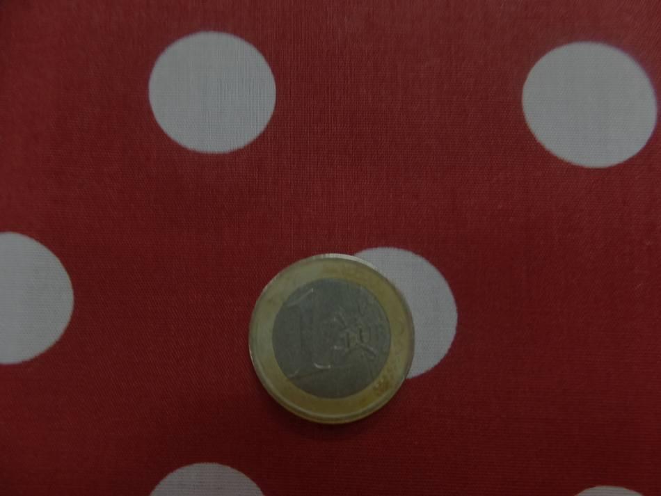 vente de coton popeline rouge bordeaux a pois blanc