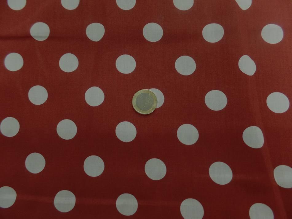 coton popeline rouge bordeaux a pois blanc pour Mini