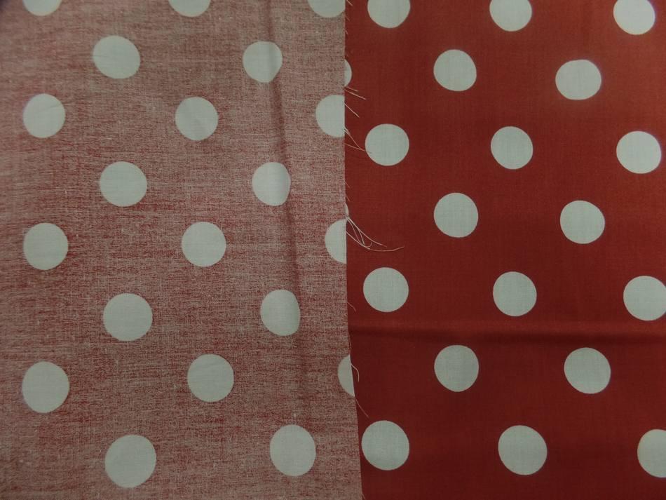 coton popeline rouge bordeaux a pois blanc