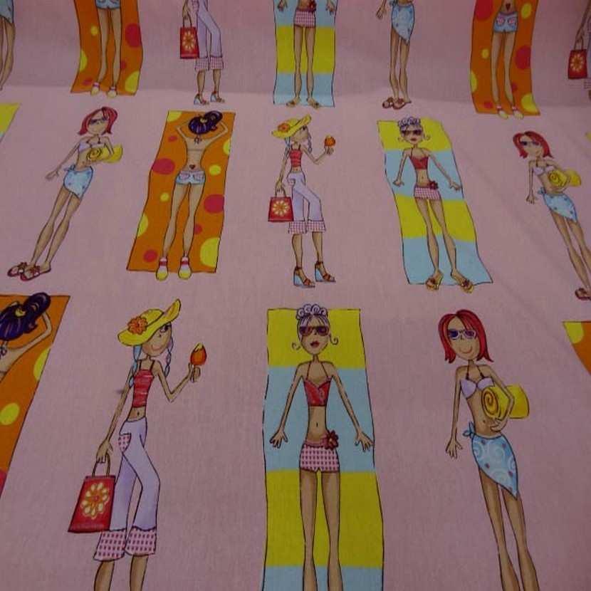 Coton rose clair imprime femme7