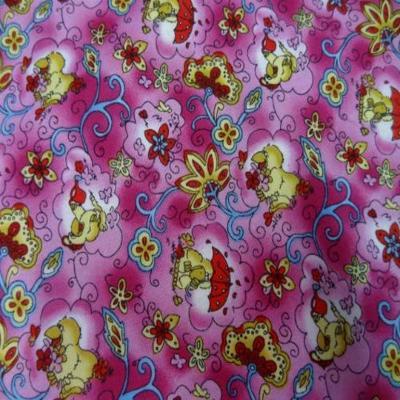 Coton rose imprime canard en 1 40m de large
