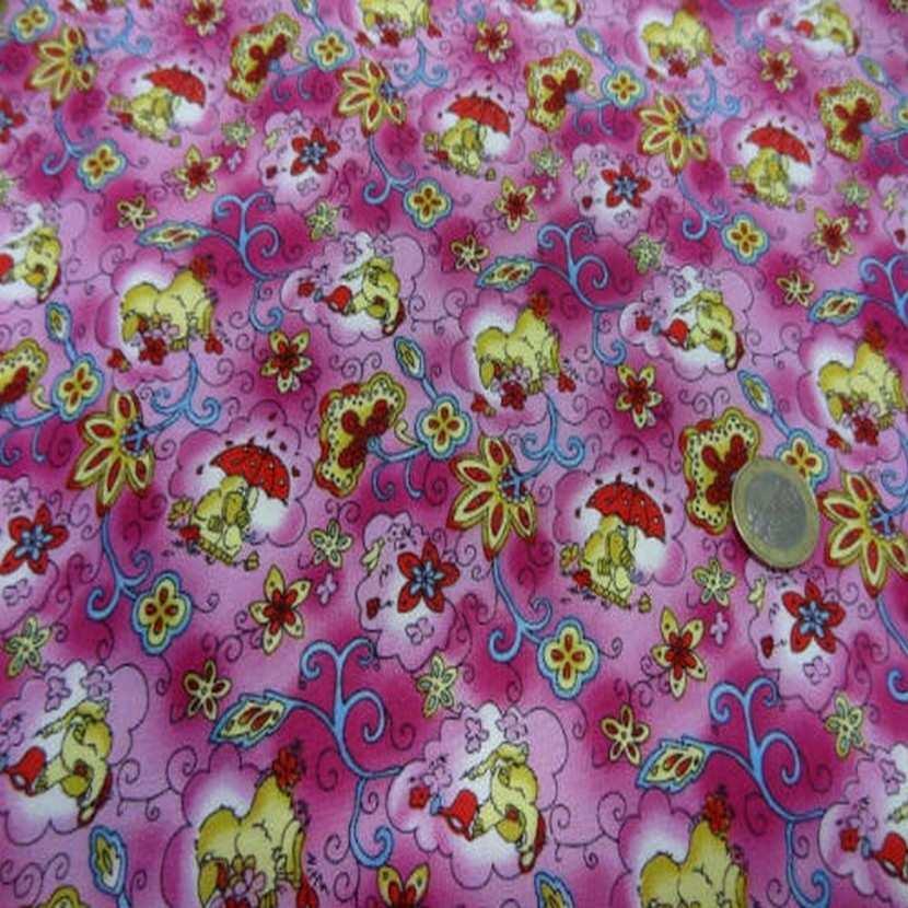 Coton rose imprime canard en 1 40m de large3